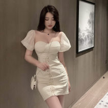 Dress Summer 2021 Picture color S,M,L Short skirt singleton  Short sleeve commute One word collar High waist Solid color Socket One pace skirt puff sleeve Breast wrapping 18-24 years old T-type Korean version 51% (inclusive) - 70% (inclusive) other