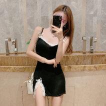 Dress Summer 2021 Quality version, regular version M Short skirt singleton  Sleeveless commute V-neck High waist Solid color zipper other camisole 18-24 years old Type H Korean version Open back, stitching