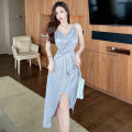 Dress Summer 2021 grey S,M,L Mid length dress singleton  Sleeveless commute V-neck High waist Solid color zipper other camisole 18-24 years old Type A Korean version backless 91% (inclusive) - 95% (inclusive) Silk and satin polyester fiber