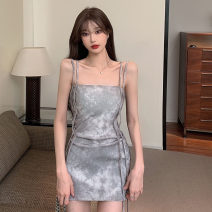 Dress Summer 2021 Picture color Average size Short skirt singleton  Sleeveless commute One word collar High waist Decor zipper One pace skirt camisole 18-24 years old Type H Korean version backless