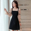 Dress Spring 2021 Picture color S,M,L,XL Short skirt singleton  Long sleeves commute square neck High waist Solid color zipper A-line skirt puff sleeve camisole 18-24 years old Type A Korean version Bowknot, stitching, mesh
