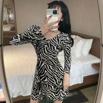 Dress Winter 2020 Picture color S,M,L Short skirt singleton  Long sleeves V-neck High waist Zebra pattern A-line skirt routine Others 18-24 years old Type A