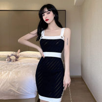 Dress Summer 2021 black S,M,L Short skirt singleton  Sleeveless commute One word collar High waist Solid color Socket One pace skirt camisole 18-24 years old Type H Korean version Open back, stitching, buttons