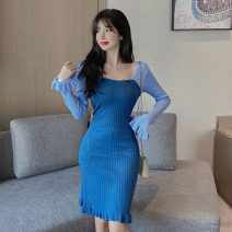 Dress Autumn 2020 Blue, black Average size Short skirt singleton  Long sleeves commute square neck High waist Solid color Socket other pagoda sleeve Others 18-24 years old Type H Korean version Splicing