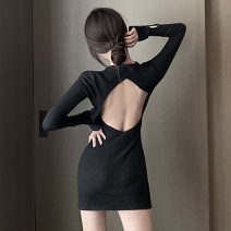 Dress Summer 2020 black Average size Short skirt singleton  Long sleeves commute Polo collar High waist Solid color Socket One pace skirt routine Others 18-24 years old Type H Korean version 81% (inclusive) - 90% (inclusive) knitting cotton
