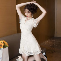 Dress Summer 2021 Apricot S,M,L,XL,2XL Short skirt singleton  Short sleeve commute V-neck High waist Solid color Three buttons Ruffle Skirt routine Others 18-24 years old Type X Korean version Zippers, ruffles, buttons, lace Lace