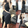 Dress Summer of 2018 black S,M,L,XL Mid length dress singleton  Sleeveless Sweet middle-waisted Solid color other Hanging neck style 18-24 years old Other / other