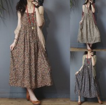 Dress Summer 2020 Average size Mid length dress Sleeveless commute One word collar Loose waist camisole Type A Retro