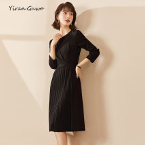 Dress Spring 2021 Alternative black S M L XL 2XL 3XL Mid length dress singleton  Long sleeves commute Crew neck middle-waisted Decor Socket Pleated skirt routine Others 35-39 years old Type X Yi Ran is me Ol style Pleated zipper 51% (inclusive) - 70% (inclusive) other polyester fiber