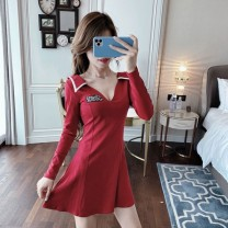 Dress Autumn 2020 Red, black $? S,M,L,XL Short skirt singleton  Long sleeves commute V-neck High waist Solid color Socket One pace skirt routine Others 18-24 years old Type A Other QLE6606 other polyester fiber