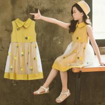Dress Summer of 2019 yellow 110cm,120cm,130cm,140cm,150cm,160cm Mid length dress singleton  Sleeveless commute Elastic waist Princess Dress straps Under 17 Type A Korean version 71% (inclusive) - 80% (inclusive) cotton