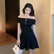 Dress Summer 2021 black S,M,L,XL,2XL Short skirt singleton  Short sleeve commute One word collar middle-waisted Solid color zipper A-line skirt other Others 18-24 years old