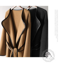 woolen coat Autumn 2020 Average size black Sheepskin 95% and above have more cash than can be accounted for Long sleeves commute Frenulum Crew neck Solid color 30-34 years old Frenulum Solid color