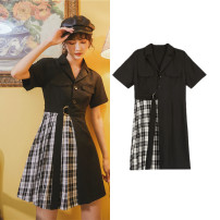 Dress Summer 2020 black S,M,L,XL Middle-skirt singleton  Short sleeve street Polo collar middle-waisted routine 18-24 years old Type A Splicing, bandage other