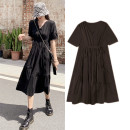 Dress Summer 2020 Black, white S, M Mid length dress singleton  Short sleeve commute V-neck High waist Cake skirt routine Others Type A Simplicity 81% (inclusive) - 90% (inclusive) Chiffon cotton