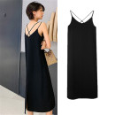 Dress Summer 2021 black XS,S,M,L,XL Mid length dress singleton  Sleeveless commute V-neck Loose waist Solid color Socket Big swing routine camisole 18-24 years old Type H Wheiteallusion / Sutra Korean version backless polyester fiber