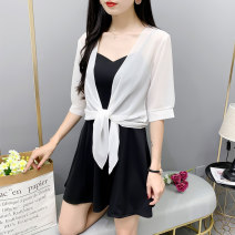 Lace / Chiffon Summer 2020 White coat, red coat, black coat M (recommended 80-105 kg), l (recommended 105-125 kg), XL (recommended 125-140 kg), 2XL (recommended 140-165 kg) elbow sleeve Versatile Cardigan singleton  easy have cash less than that is registered in the accounts other Solid color routine
