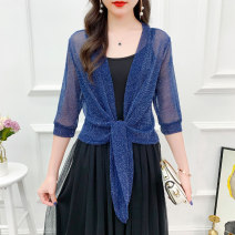 short coat Summer 2020 elbow sleeve have cash less than that is registered in the accounts Thin money singleton  Shawl type Versatile routine other Frenulum Solid color 25-29 years old 71% (inclusive) - 80% (inclusive) Mesh, stitching other