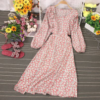 Dress Spring 2021 Decor 1, decor 2, decor 3, decor 4, decor 5, decor 6 Average size longuette singleton  Long sleeves commute Crew neck High waist Broken flowers Socket A-line skirt routine Type A printing 81% (inclusive) - 90% (inclusive) other