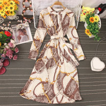 Dress Autumn 2020 White, black, khaki, apricot Average size longuette singleton  Long sleeves commute V-neck High waist Decor Socket A-line skirt routine 25-29 years old Type A Lace up, stitching, printing 81% (inclusive) - 90% (inclusive) other