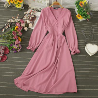 Dress Autumn 2020 Pink, rose, khaki, yellow, black, sky blue, brick red, jujube red, bean green, dark green Average size Mid length dress singleton  Long sleeves commute V-neck High waist Solid color Socket A-line skirt pagoda sleeve 25-29 years old Type A Button, button other