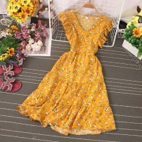 Dress Spring 2021 Red, sky blue, black, pink, dark blue, white, yellow, greyish green, jujube Average size longuette singleton  Sleeveless commute V-neck High waist Broken flowers Socket A-line skirt Type A Lace up, stitching, printing 81% (inclusive) - 90% (inclusive) other