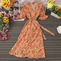 Dress Autumn 2020 Decor 1, decor 2, decor 3, decor 4, decor 5, decor 6, decor 7, decor 8, decor 9 Average size longuette singleton  Short sleeve commute V-neck High waist Broken flowers Socket A-line skirt pagoda sleeve Type A Lace up, stitching, printing 81% (inclusive) - 90% (inclusive) other