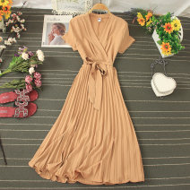 Dress Summer 2020 Black, yellow, orange, purple, dark green, khaki, pink, jujube Average size Mid length dress singleton  Short sleeve commute V-neck High waist Solid color Socket A-line skirt routine Type A Pleating, lacing, stitching 81% (inclusive) - 90% (inclusive) other