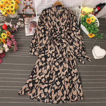Dress Autumn 2020 Decor 1, decor 2, decor 3, decor 4, decor 5, decor 6, decor 7, decor 8 Average size Mid length dress singleton  Long sleeves commute V-neck High waist Leopard Print Socket A-line skirt routine 25-29 years old Type A Lace up, stitching, buttons, print other