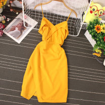 Dress Spring 2021 Pink, yellow, black M, L Middle-skirt singleton  Sleeveless commute One word collar High waist Solid color Socket A-line skirt routine camisole 18-24 years old Type A Korean version 81% (inclusive) - 90% (inclusive)