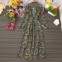 Dress Autumn 2020 Decor 1, decor 2, decor 3, decor 4, decor 5, decor 6 Average size longuette singleton  Long sleeves commute middle-waisted Decor Socket A-line skirt routine 18-24 years old Type A Lace up, stitching, printing 81% (inclusive) - 90% (inclusive) other