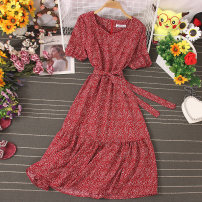 Dress Autumn 2020 Decor 1, decor 2, decor 3, decor 4, decor 5, decor 6, decor 7, decor 8, decor 9 Average size Mid length dress singleton  Short sleeve commute V-neck High waist Broken flowers Socket A-line skirt routine Type A Lace up, stitching, printing 81% (inclusive) - 90% (inclusive) other