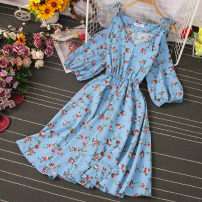 Dress Spring 2021 Yellow, black, pink, jujube, sky blue, dark green, dark blue Average size Mid length dress singleton  Long sleeves commute V-neck High waist Decor Socket A-line skirt pagoda sleeve camisole 18-24 years old Type A Print, stitching, lace up 81% (inclusive) - 90% (inclusive) other