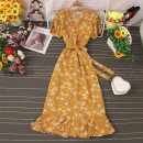 Dress Autumn 2020 Decor 1, decor 2, decor 3, decor 4, decor 5, decor 6, decor 7, decor 8 Average size Mid length dress singleton  Short sleeve commute V-neck High waist Broken flowers Socket A-line skirt routine 25-29 years old Type A Lace up, stitching, printing 81% (inclusive) - 90% (inclusive)