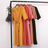 Dress Summer of 2019 Average size Mid length dress singleton  elbow sleeve commute V-neck High waist Solid color Socket A-line skirt Wrap sleeves Type A Korean version Bows, stitches, straps, buttons 81% (inclusive) - 90% (inclusive) other