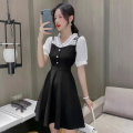Dress Summer 2021 Black, white S,M,L,XL,2XL Middle-skirt Fake two pieces Short sleeve commute V-neck High waist Solid color A button A-line skirt routine 18-24 years old Type A Korean version Bowknot, Auricularia auricula, stitching, button, zipper 04l39 small black skirt with wooden ear and lace up