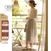 skirt Summer 2021 Average size Mid length dress commute Natural waist other Decor 25-29 years old More than 95% other Bioliving / baiwuxi polyester fiber Retro Polyester 100%