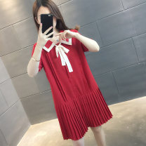 Dress Summer 2021 Black red S M L XL Mid length dress singleton  Short sleeve commute Doll Collar Solid color Socket routine Others 25-29 years old vee fly Korean version Bowknot stitching VE00003HT2006275829 More than 95% other Other 100% Pure e-commerce (online only)