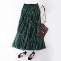 skirt Summer 2021 Average size Grey, green, black longuette commute High waist Fluffy skirt Solid color Type A 25-29 years old More than 95% other Other / other other Nail bead, yarn mesh, splicing Korean version