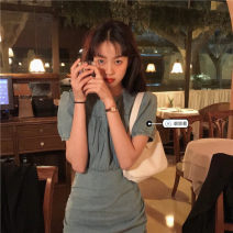 Dress Autumn 2021 Denim dress S, M Middle-skirt singleton  Short sleeve commute Crew neck High waist Solid color Socket A-line skirt puff sleeve Others Under 17 Type A Korean version 31% (inclusive) - 50% (inclusive)