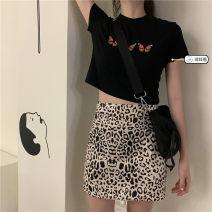 Fashion suit Summer 2021 S. M, average size C82 white T, C82 Black T, w52 leopard skirt Under 17 31% (inclusive) - 50% (inclusive)