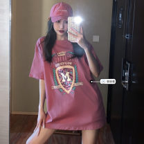 T-shirt Average size Summer 2021 Short sleeve Crew neck easy Medium length routine commute cotton 71% (inclusive) - 85% (inclusive) 18-24 years old Korean version youth letter printing