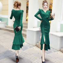 Dress Summer 2020 S,M,L,XL Mid length dress singleton  Long sleeves commute V-neck High waist Solid color zipper Irregular skirt routine Others Other / other Korean version 81% (inclusive) - 90% (inclusive) brocade other