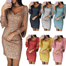 Dress Summer of 2019 S,M,L,XL,2XL,3XL Miniskirt singleton  Long sleeves commute V-neck middle-waisted Solid color other Pencil skirt other Others 25-29 years old Type A Britain 81% (inclusive) - 90% (inclusive) other polyester fiber