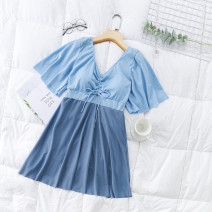 one piece  Independent brand 2XL [suggested 120-145 kg], 3XL [suggested 145-165 kg], 4XL [suggested 165-185 kg] Blue 8232, pink 8232 Skirt one piece With chest pad without steel support Polyester, others female Short sleeve Casual swimsuit Solid color