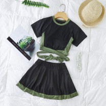 Split swimsuit Independent brand Grey black 8276, green 8276 S [recommended 80-90 kg], m [recommended 90-100 kg], l [recommended 100-110 kg], XL [recommended 110-120 kg] Skirt split swimsuit With chest pad without steel support Polyester, others female