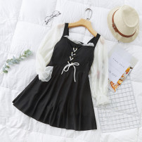 one piece  Independent brand S [recommended 80-90 kg], m [recommended 90-100 kg], l [recommended 100-110 kg], XL [recommended 110-120 kg] Black 8239, pink 8239, yellow 8239 Skirt one piece With chest pad without steel support Polyester, others female Long sleeves Casual swimsuit Other, solid