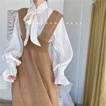 Dress Autumn of 2019 Black, yellow, Camel Brown Average size Mid length dress singleton  Sleeveless Sweet V-neck High waist Solid color Socket Big swing straps Type A Other / other knitting acrylic fibres solar system
