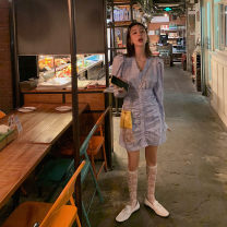 Dress Summer 2021 Blue, gray S,M,L Short skirt singleton  Long sleeves commute V-neck High waist lattice Single breasted A-line skirt puff sleeve 18-24 years old Type H Korean version Pleats, buttons 51% (inclusive) - 70% (inclusive) polyester fiber