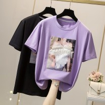 T-shirt Purple, black L,XL,2XL,3XL,4XL Summer 2021 Short sleeve Crew neck easy Regular routine commute cotton 96% and above 18-24 years old Simplicity originality Solid color